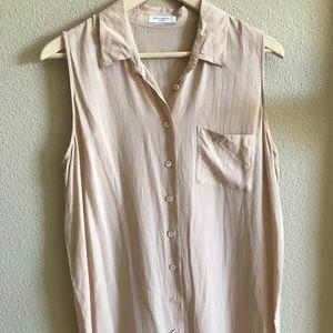 Equipment button down sleeveless dress L